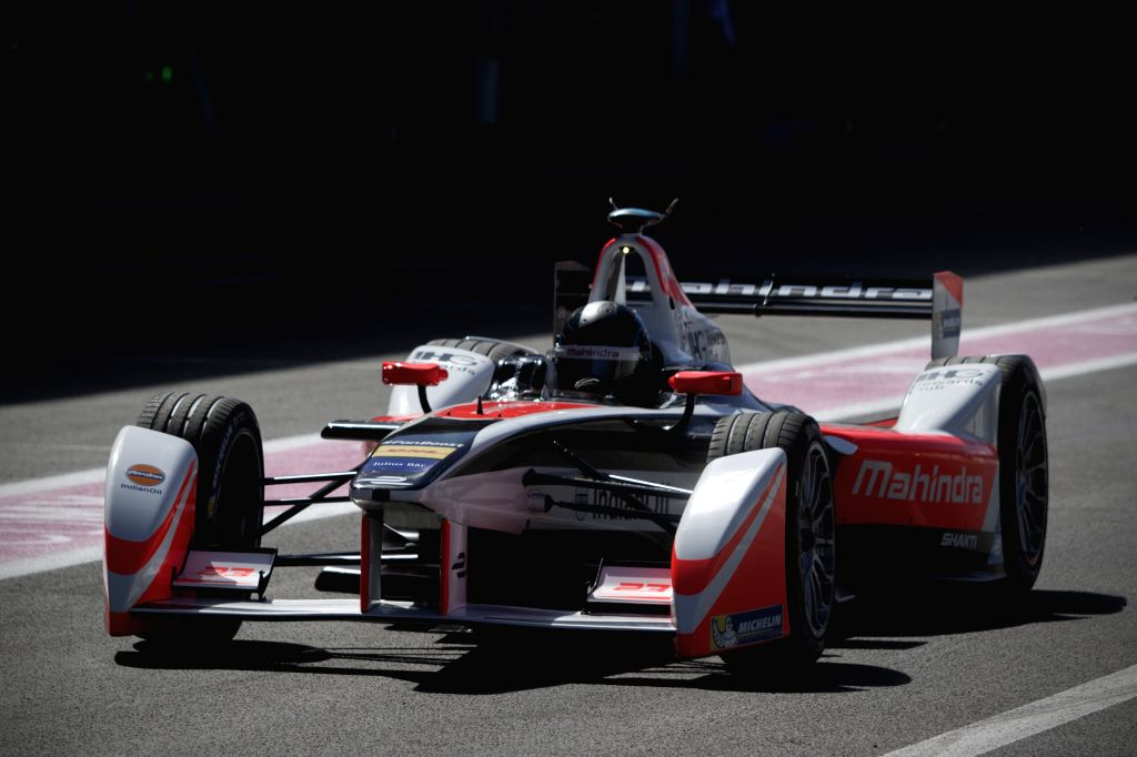 MEXICO CITY, March 12, 2016 (Xinhua) -- Brasil's driver Bruno Senna of Mahindra Racing Team takes part in a training session, prior to the FIA Formula E Championship Mexico City ePrix, at Autodromo Hermanos Rodriguez in Mexico City, capital of Mexico
