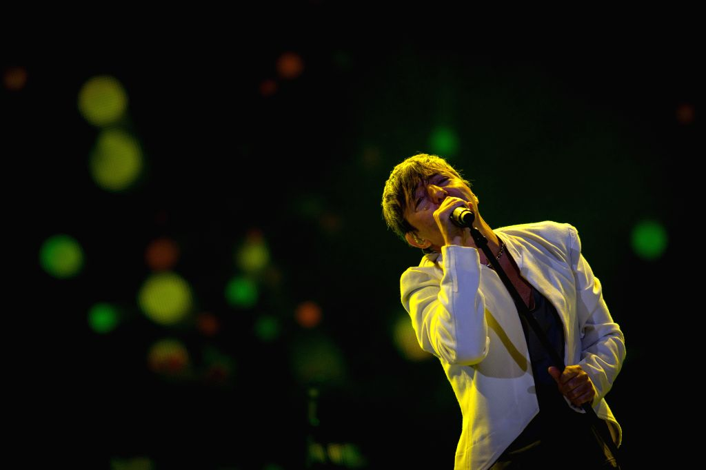 """A member of the group """"Babasonicos"""" sings during the Latin America Festival of Musical Culture Vive Latino 2015 at Foro Sol, in Mexico City, capital ..."""