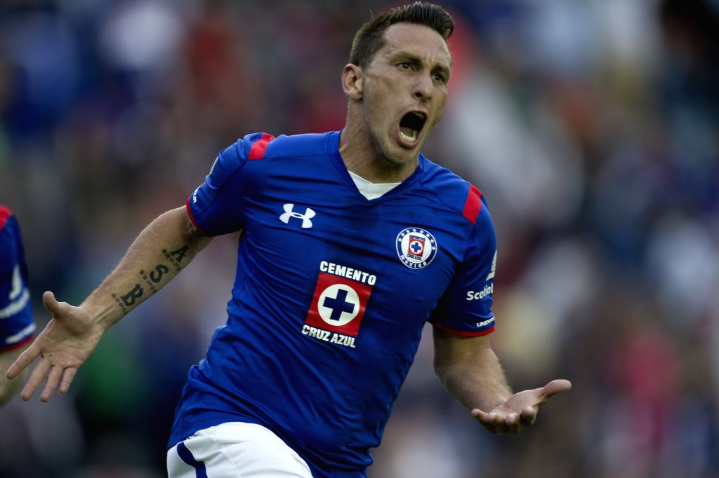 Cruz Azul's Christian Gimenez celebrates his score during the match corresponding to the Day 11 of the 2015 Closing Tournament of MX League against Xolos, in ...