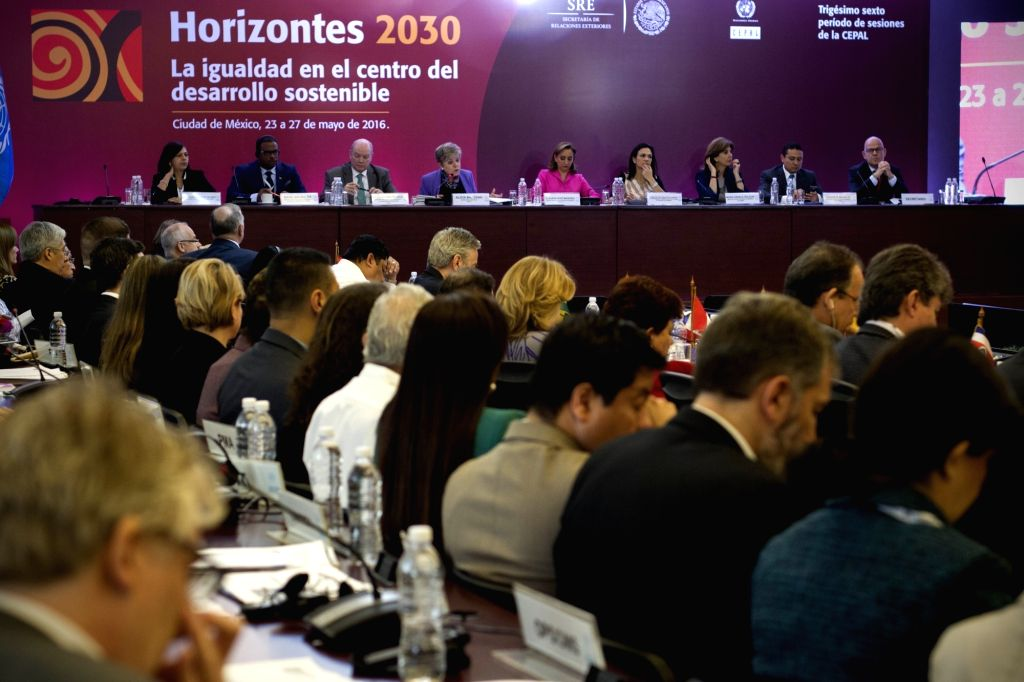 MEXICO CITY, May 27, 2016 - Attendees take part in a meeting of the 36th session of the Economic Commission for Latin America and the Caribbean (ECLAC), in Mexico City, capital of Mexico, on May 27, ...
