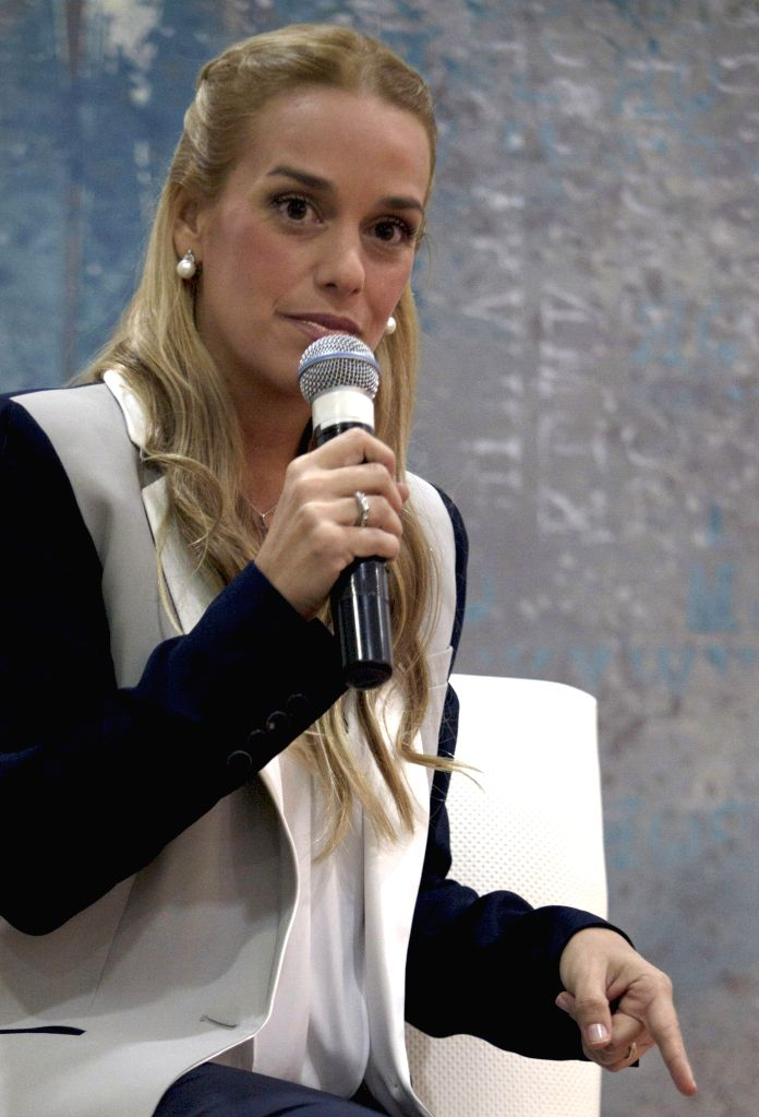 Mexico City (Mexico): Lilian Tintori, wife of Venezuelan imprisoned opposition leader Leopoldo Lopez, participates in a press conference held to announce the details of the detention of her husband, .