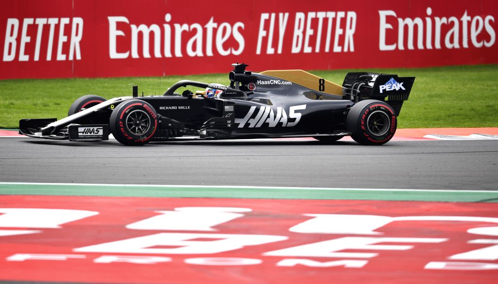 MEXICO CITY, Oct. 26, 2019 - Hass' Romain Grosjean of France drives during the second practice session of the Formula One Mexico Grand Prix at the Hermanos Rodriguez Circuit in Mexico City, on Oct. ...