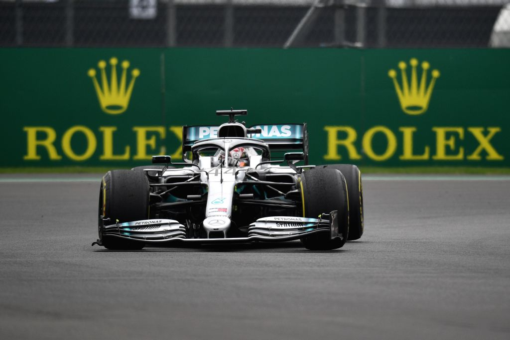 MEXICO CITY, Oct. 26, 2019 - Mercedes' Lewis Hamilton of Britain drives during the second practice session of the Formula One Mexico Grand Prix at the Hermanos Rodriguez Circuit in Mexico City, on ...