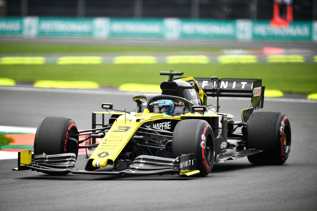 MEXICO CITY, Oct. 26, 2019 (Xinhua) -- Renault's Daniel Ricciardo of Australia drives during the second practice session of the Formula One Mexico Grand Prix at the Hermanos Rodriguez Circuit in Mexico City, on Oct. 25, 2019. (Xinhua/Xin Yuewei/IANS)