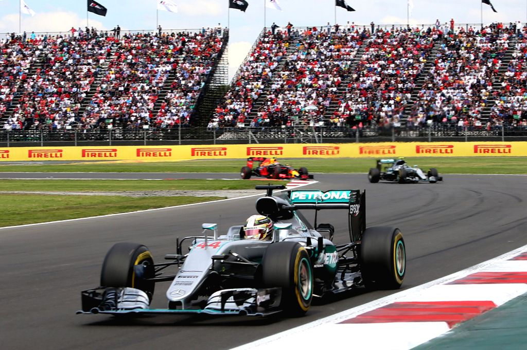 MEXICO CITY, Oct. 31, 2016 - Mercedes' British driver Lewis Hamilton drives during the Formula One Mexico Grand Prix in Mexico City, capital of Mexico, Oct. 30, 2016.