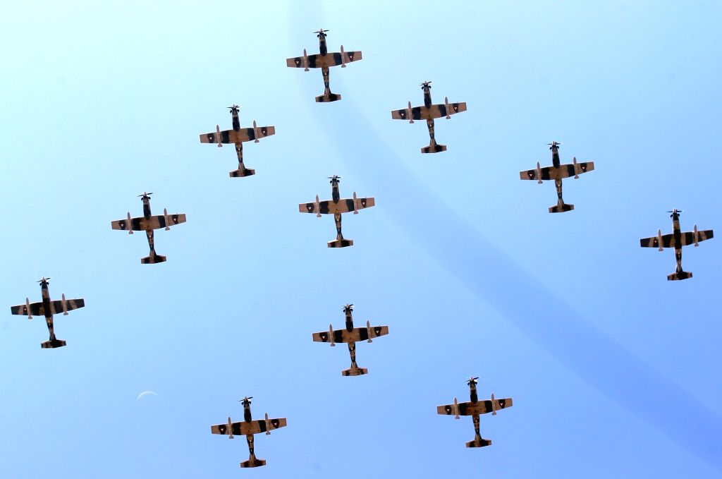MEXICO CITY, Sept. 16, 2017 - Planes of Mexican Air Force fly during the military parade held to commemorate Mexico's Independence Day at the Zocalo Square in Mexico City, capital of Mexico, on Sept. ...