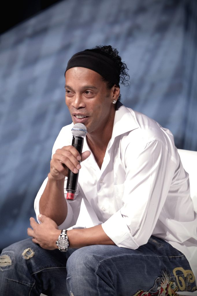 Brazilian soccer player Ronaldinho takes part in the Mexico Century XXI Forum organized by TELMEX Foundation held at Auditorio Nacional, in Mexico city, capital