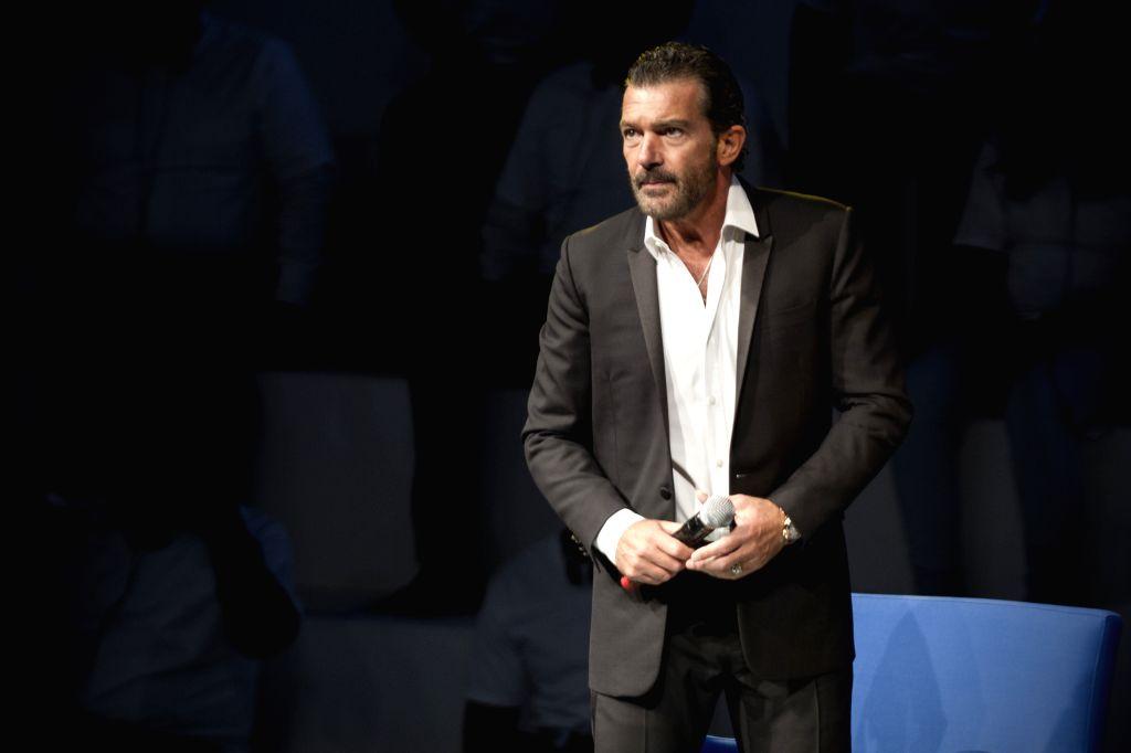 Spanish actor Antonio Banderas takes part in the Mexico Century XXI Forum organized by TELMEX Foundation, held at Auditorio Nacional, in Mexico city, capital of