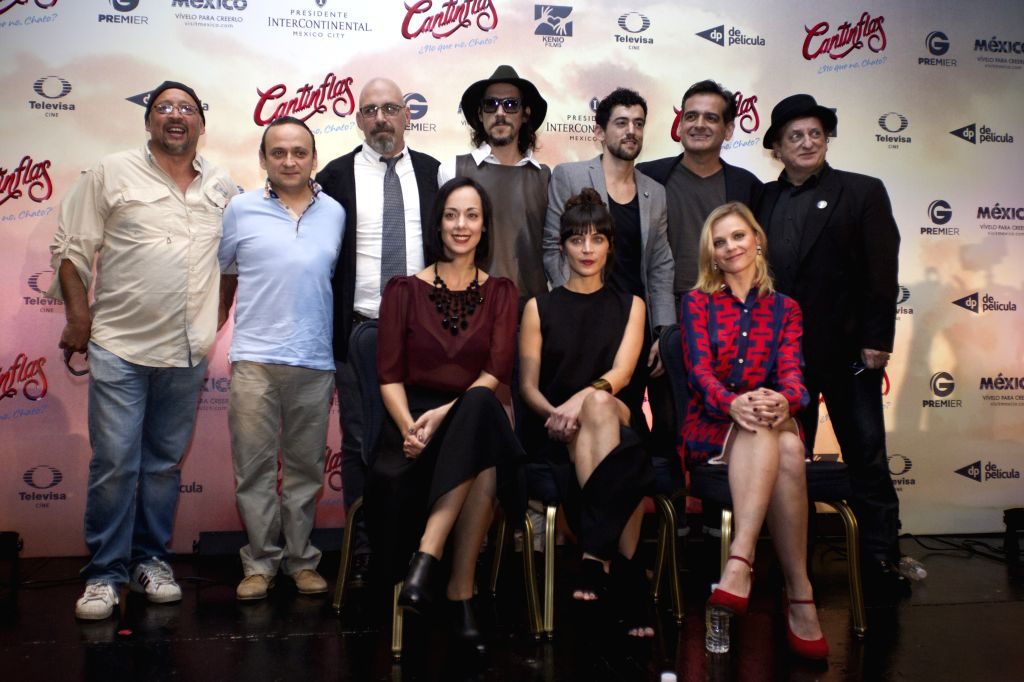"The cast members of the film ""Cantinflas"", pose during a press conference to announce its premiere, in Mexico City, capital of Mexico, on Sept. 8, ..."