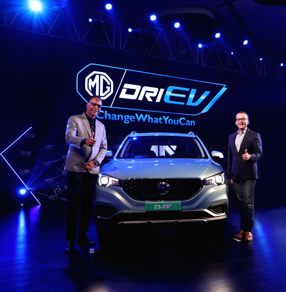 MG Motor India President and Managing Director Rajeev Chaba unveils MG ZS Electric SUV in New Delhi on Dec 5, 2019.