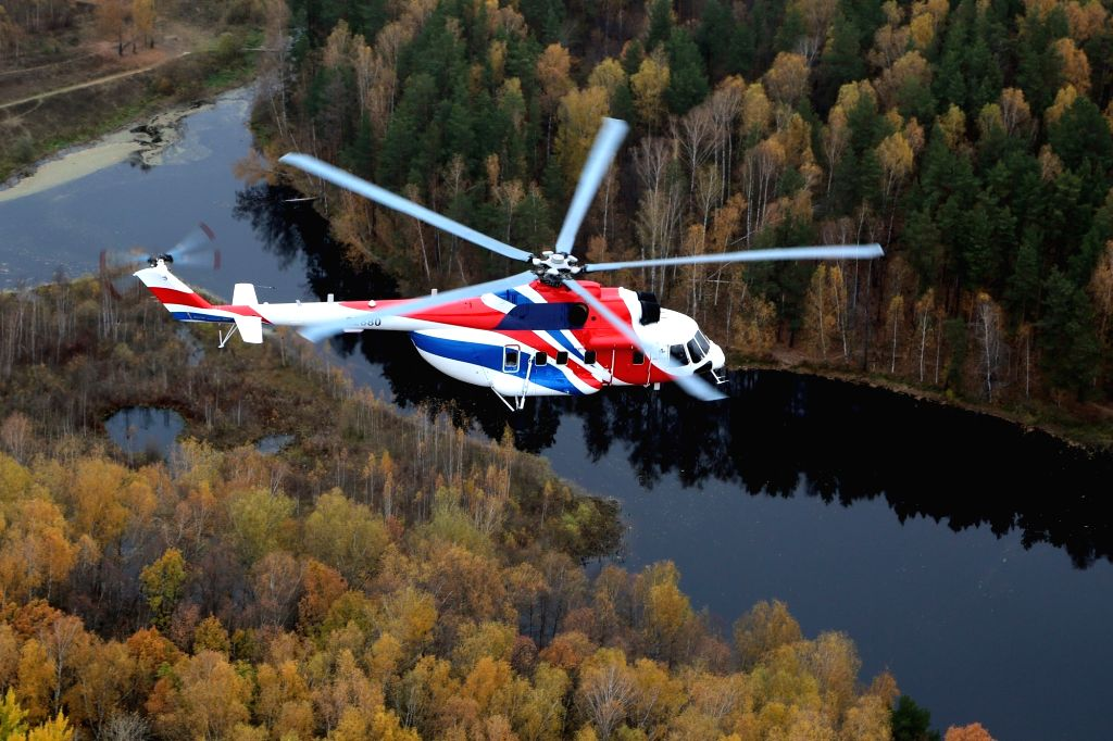 Mi-171A2, one of the helicopters showcased by Russia's Rostec State Corporation's holding firm at the biennial 11th edition of Defexpo 2020 for hard -selling them to Indian customers, in ...