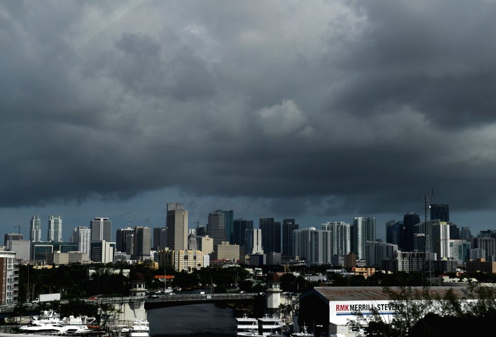 MIAMI, Sept. 9, 2017 - Dark clouds are seen as hurricane Irma approaches in Miami of Florida, the United States, Sept. 8, 2017. The U.S. National Hurricane Center said Friday evening that hurricane ...