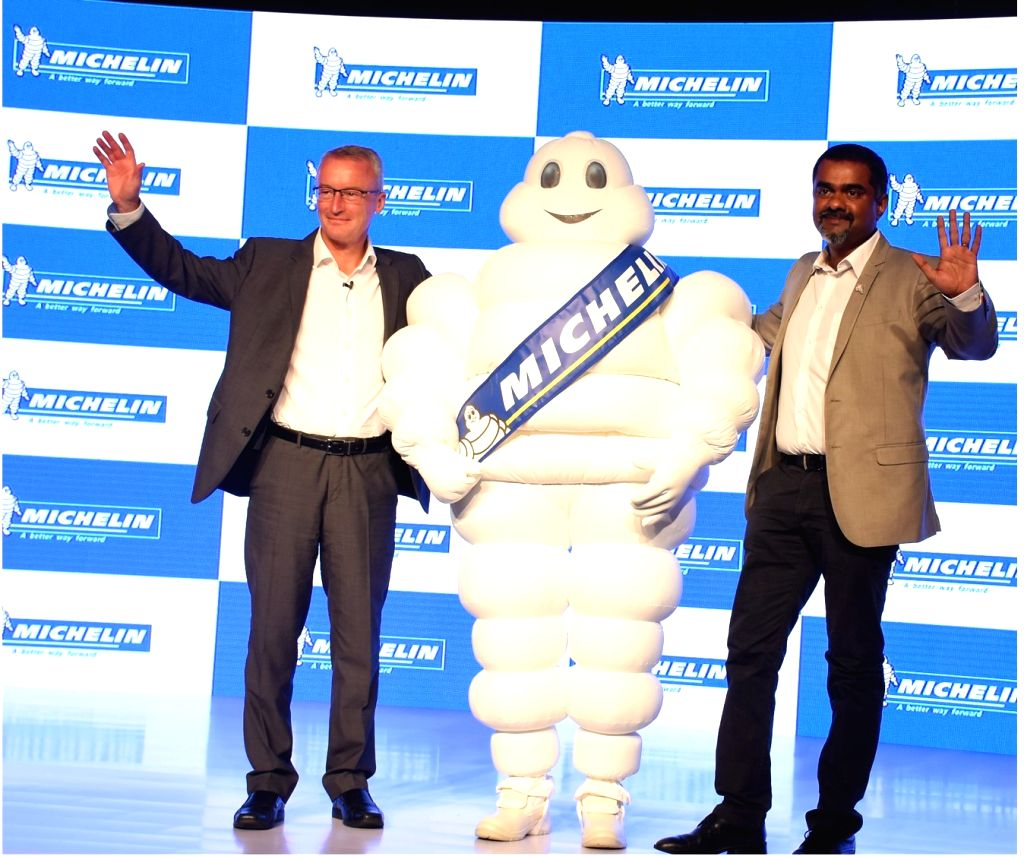 Michelin president Gary Guthrie and Michelin India Two Wheeler Tyres Commercial Director Pradeep G Thampy during the launch of its first Indian TVC for its range of two-wheeler tyres in ...
