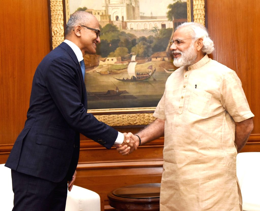Microsoft CEO Satya Nadella calls on Prime Minister Narendra Modi, in New Delhi on May 30, 2016. - Narendra Modi
