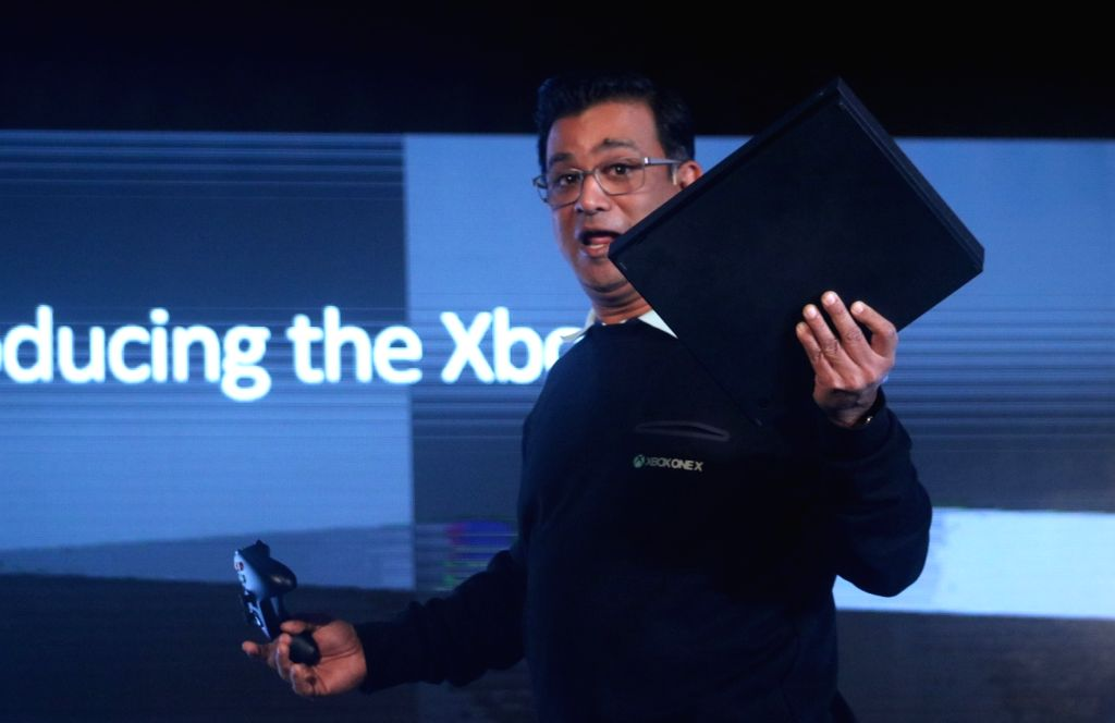 """Microsoft India, Country General Manager, Consumer and Devices Sales Priyadarshi Mohapatra during the launch of """"Xbox One X""""the world's most powerful console that brings ..."""