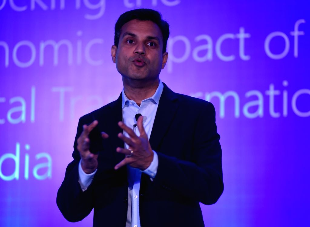 Microsoft India President Anant Maheshwari addresses during a programme on 'Unlocking the Economic Impact of Digital Transformation in India', in New Delhi on April 11, 2018.
