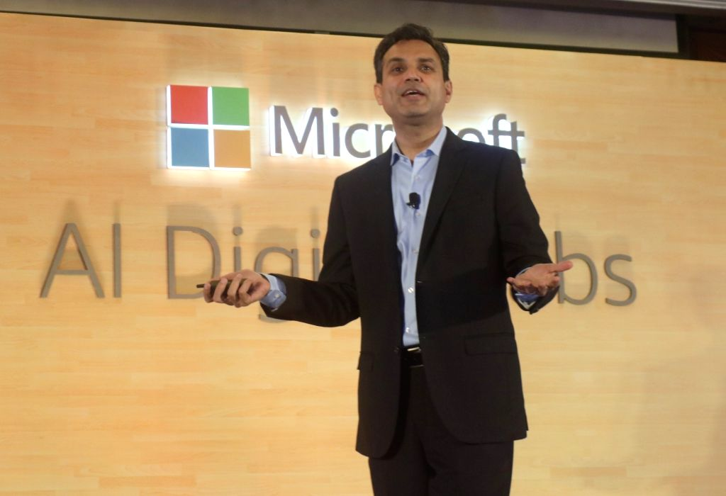 Microsoft India President Anant Maheshwari addresses at the launch of Artificial Intelligence (AI) digital labs, in New Delhi, on June 13, 2019.
