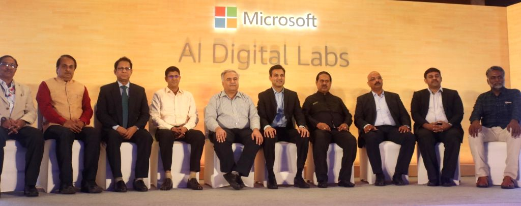 Microsoft India President Anant Maheshwari along with other dignitaries at the launch of Artificial Intelligence (AI) digital labs, in New Delhi, on June 13, 2019.