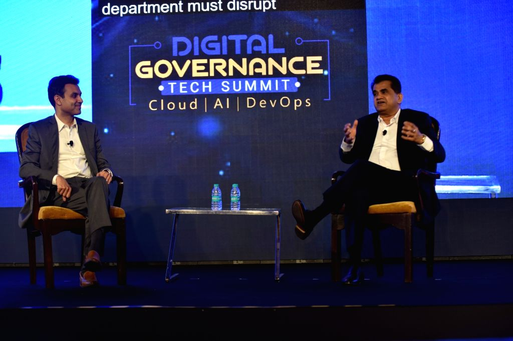 Microsoft India President Anant Maheshwari and NITI Aayog CEO Amitabh Kant during the Digital Governance Tech Summit.