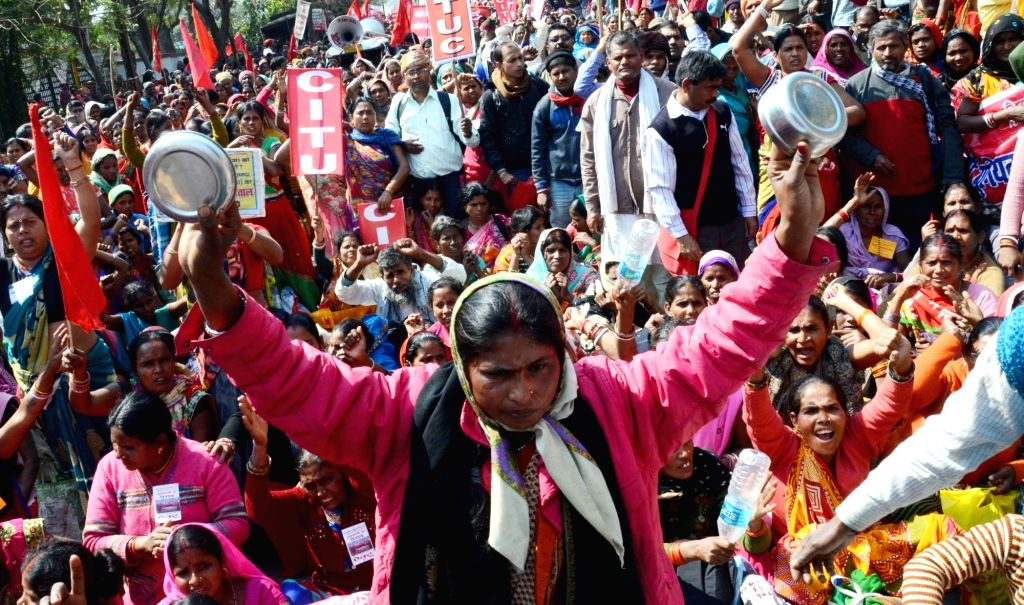 Midday meal workers stage a demonstration to press for their demands in Patna on Feb 12, 2019.