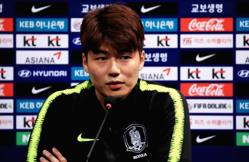 Midfielder Ki Sung-yueng of Swansea City speaks at a news conference at the National Football Center in Paju, Gyeonggi Province, on May 23, 2018.
