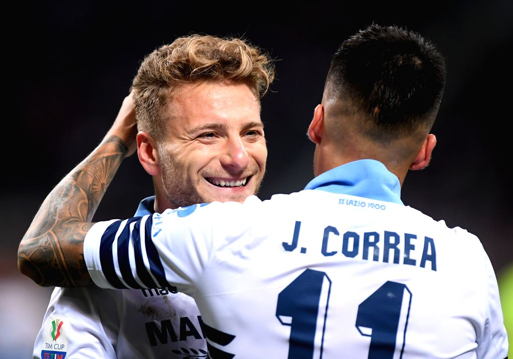 MILAN, April 25, 2019 - Lazio's Joaquin Correa (R) celebrates his goal with Ciro Immobile during the Italy cup semi-final second leg soccer match between AC Milan and Lazio in Milan, Italy, April 24, ...