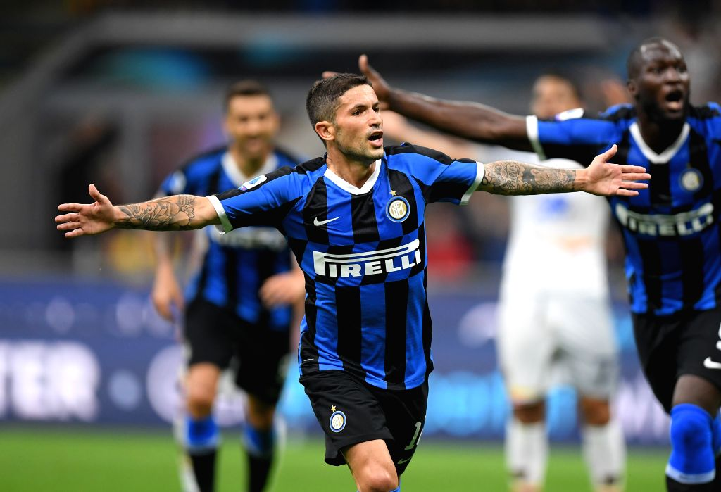 MILAN, Aug. 27, 2019 - Inter Milan's Stefano Sensi celebrates his goal during a Serie A soccer match between Inter Milan and Lecce in Milan, Italy, Aug 26, 2019.