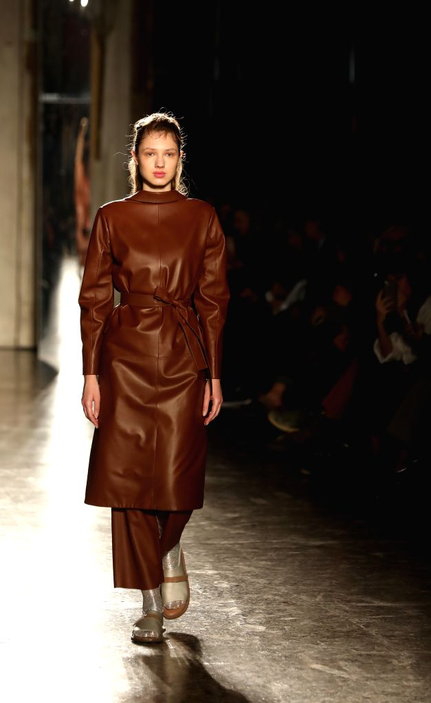 MILAN, Feb. 20, 2019 - A model presents a creation of Alberto Zambelli during Milan Fashion Week Autumn/Winter 2019-20 in Milan, Italy, Feb. 20, 2019.