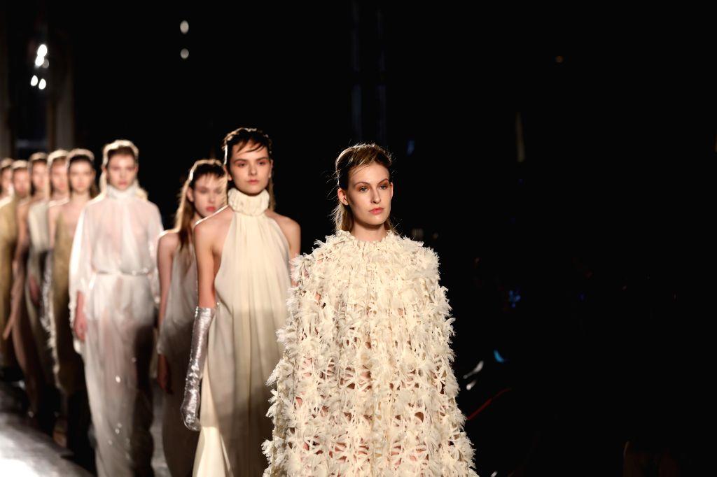 MILAN, Feb. 20, 2019 - Models present creations of Alberto Zambelli during Milan Fashion Week Autumn/Winter 2019-20 in Milan, Italy, Feb. 20, 2019.