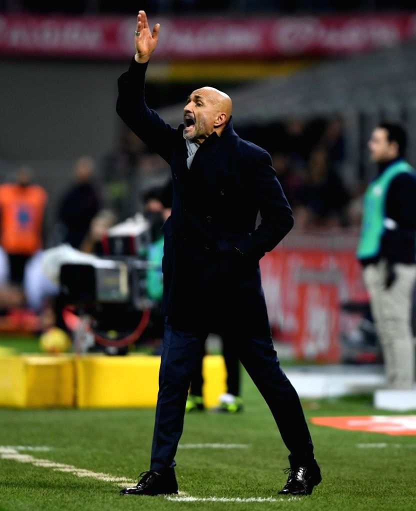 MILAN, Jan. 22, 2018 - Inter Milan's head coach Luciano Spalletti gestures during a Serie A soccer match between Inter Milan and Roma in Milan, Italy, Jan. 21, 2018. The game ends with a 1-1 tie.