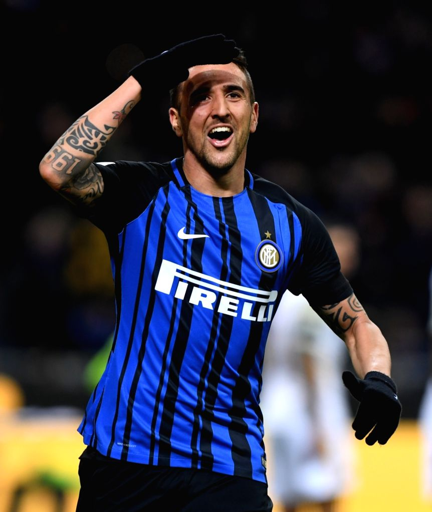 MILAN, Jan. 22, 2018 - Inter Milan's Matias Vecino celebrates after scoring during a Serie A soccer match between Inter Milan and Roma in Milan, Italy, Jan. 21, 2018. The game ends with a 1-1 tie.