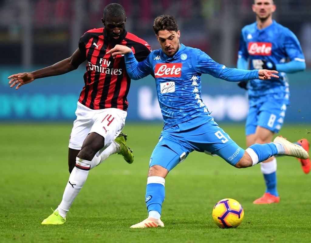 MILAN, Jan. 27, 2019 - AC Milan's Tiemoue Bakayoko (L) vies with Napoli's Simone Verdi during a Serie A soccer match between AC Milan and Napoli in Milan, Italy, Jan. 26 , 2019. The match ended 0-0.