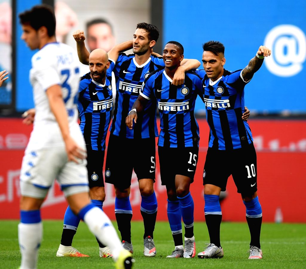 Milan,  July 2, 2020 FC Inter's Ashley Young (2nd R) celebrates his goal with his teammates during a Serie A football match between FC Inter and Brescia in Milan, Italy, July 1, 2020.