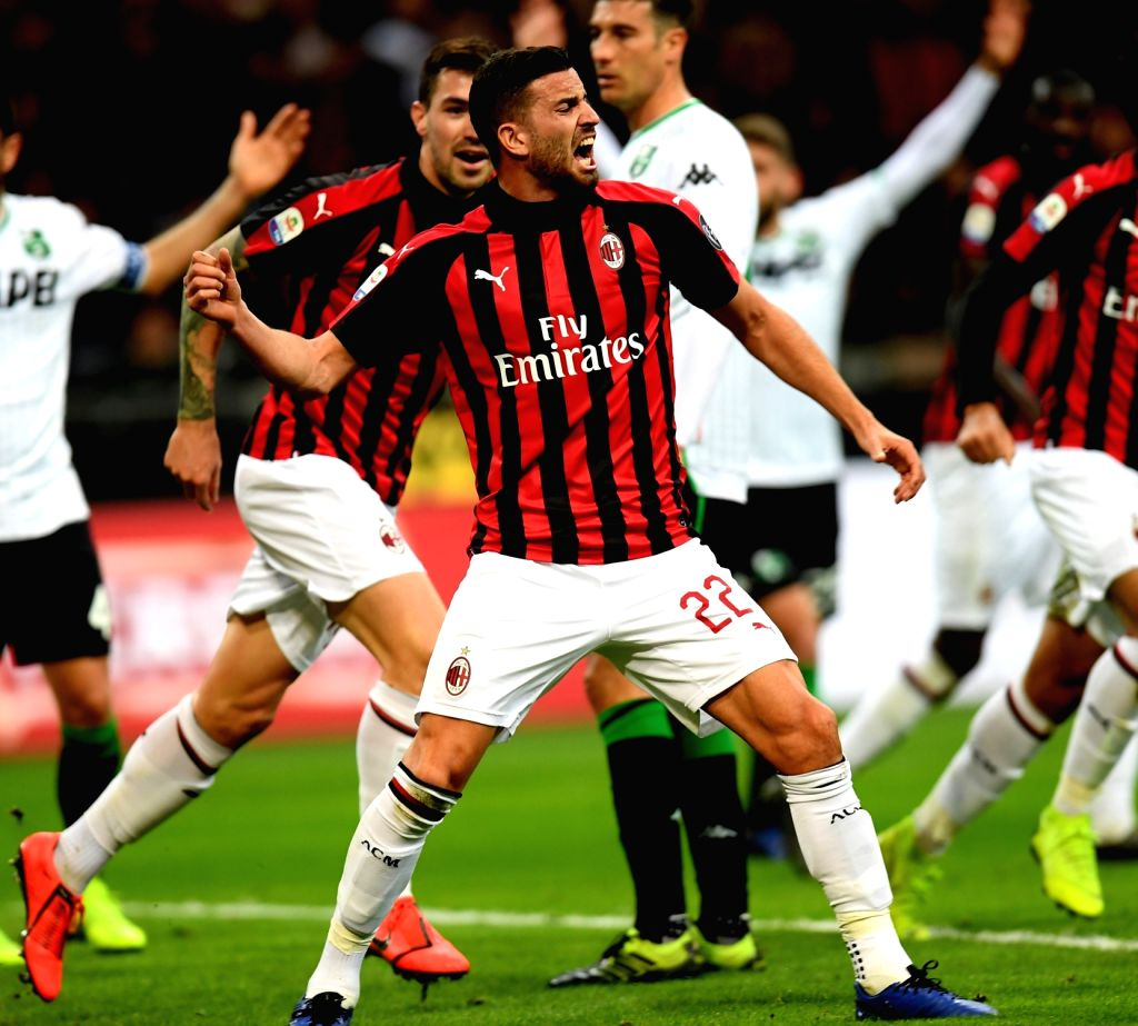 MILAN, March 3, 2019 - AC Milan's Mateo Musacchio (Front) celebrates during the Serie A soccer match between AC Milan and Sassuolo in Milan, Italy, March 2, 2019. AC Milan won 1-0.