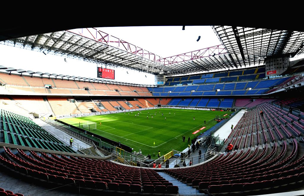 MILAN, March 9, 2020 (Xinhua) -- Photo taken on March 8, 2020 shows the internal view of San Siro stadium, where the Italian Serie A soccer match between AC Milan and Genoa was going on,  in Milan, Italy. (Photo by Augusto Casasoli/Xinhua/IANS)
