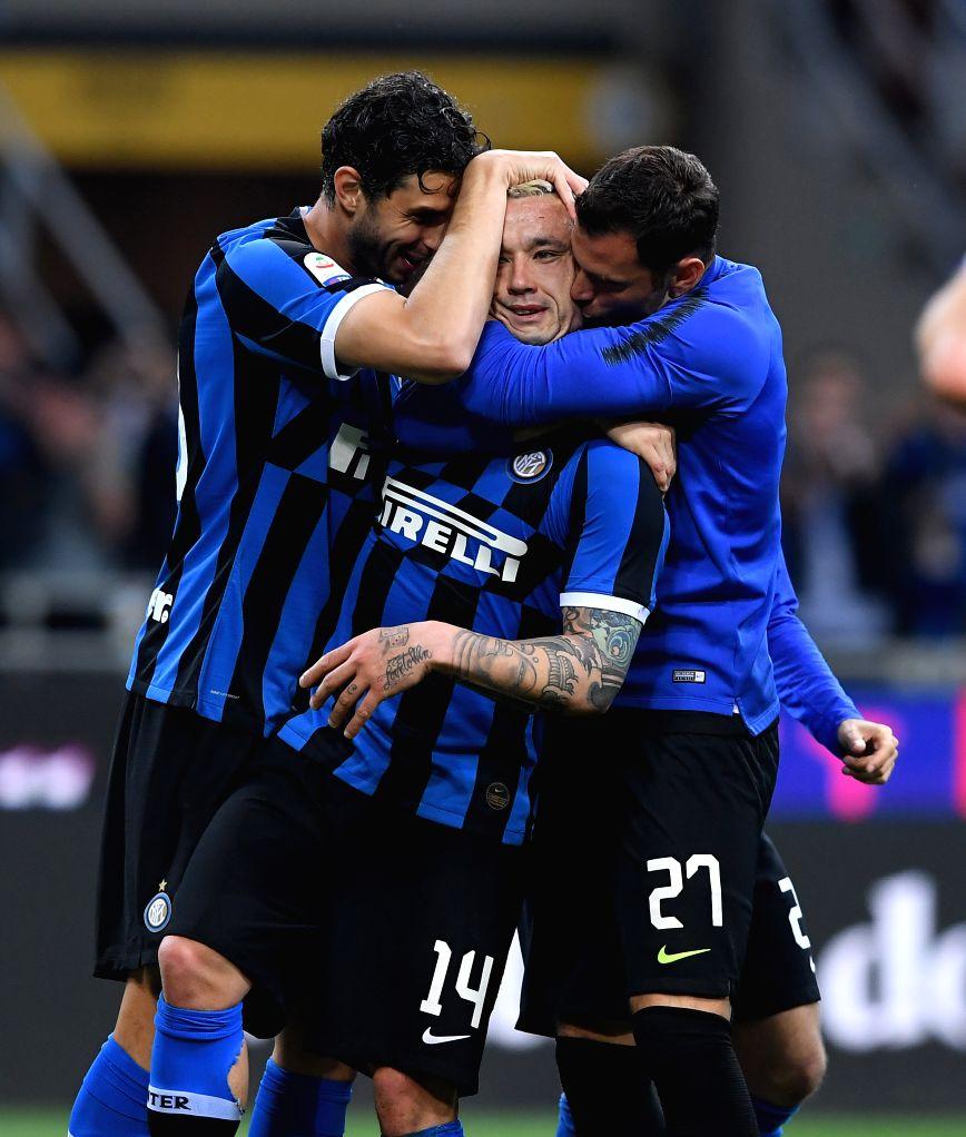 MILAN, May 27, 2019 - FC Inter's Radja Nainggolan (C) celebrates with his teammates during a Serie A soccer match between FC Inter and Empoli in Milan, Italy, May 26, 2019. FC Inter won 2-1.