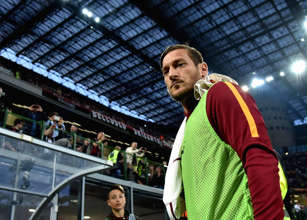 MILAN, May 8, 2017 - Francesco Totti of Roma looks on during the Italian Serie A soccer match between AC Milan and Roma in Milan, Italy, on May 7, 2017. Roma won 4-1.