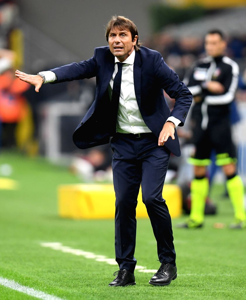 MILAN, Oct. 27, 2019 - FC Inter's head coach Antonio Conte reacts during a Serie A soccer match between FC Inter and Parma in Milan, Italy, Oct. 26, 2019.