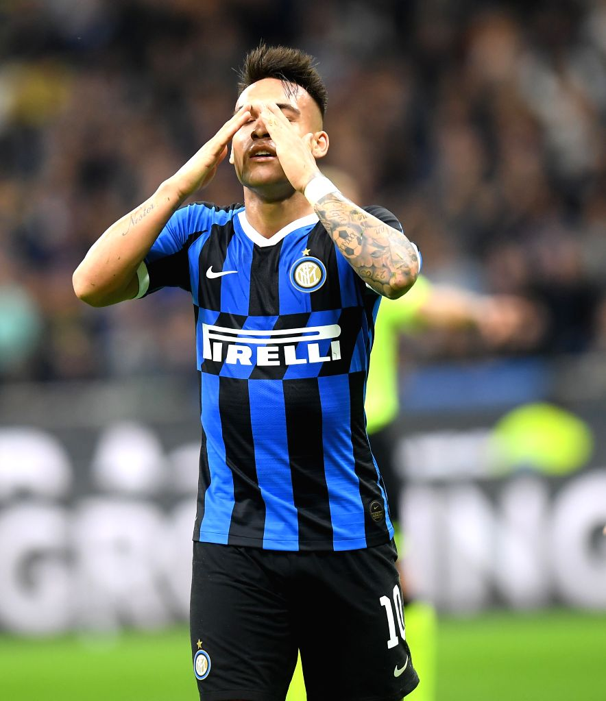 MILAN, Oct. 27, 2019 - FC Inter's Lautaro Martinez reacts during a Serie A soccer match between FC Inter and Parma in Milan, Italy, Oct. 26, 2019.