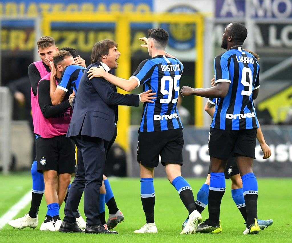 MILAN, Oct. 27, 2019 - FC Inter's players celebrate with their head coach Antonio Conte (3rd R) during a Serie A soccer match between FC Inter and Parma in Milan, Italy, Oct. 26, 2019.