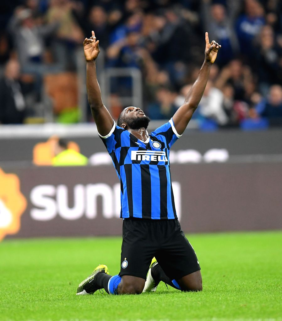 MILAN, Oct. 27, 2019 - FC Inter's Romelu Lukaku celebrates his goal during a Serie A soccer match between FC Inter and Parma in Milan, Italy, Oct. 26, 2019.