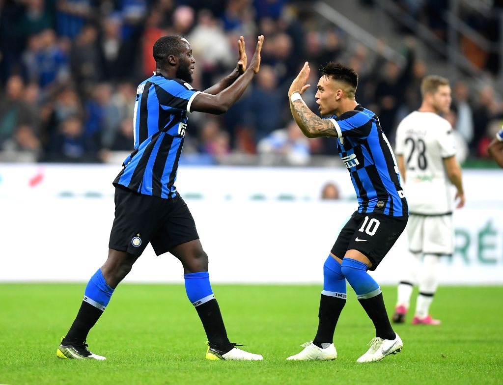 MILAN, Oct. 27, 2019 - FC Inter's Romelu Lukaku (L) celebrates his goal with Lautaro Martinez during a Serie A soccer match between FC Inter and Parma in Milan, Italy, Oct. 26, 2019.