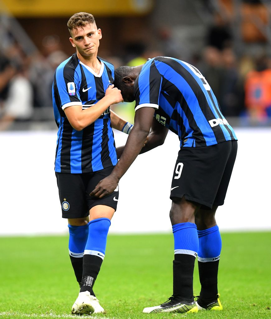 MILAN, Oct. 27, 2019 - FC Inter's Romelu Lukaku (R) and Sebastiano Esposito react during a Serie A soccer match between FC Inter and Parma in Milan, Italy, Oct. 26, 2019.