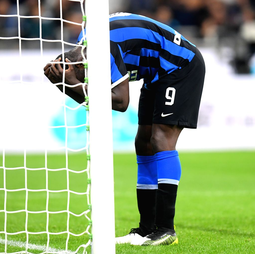 MILAN, Oct. 27, 2019 - FC Inter's Romelu Lukaku reacts during a Serie A soccer match between FC Inter and Parma in Milan, Italy, Oct. 26, 2019.