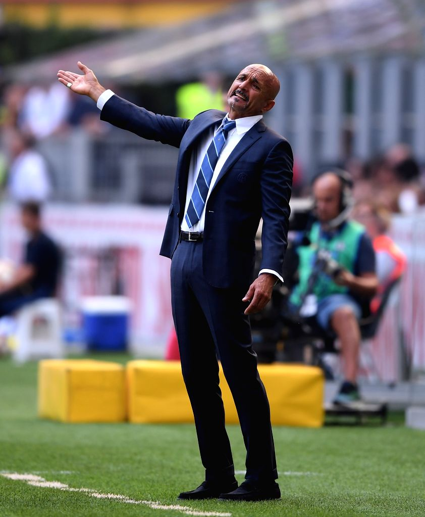 MILAN, Sept. 16, 2018 - FC Inter's coach Luciano Spalletti gestures during a Serie A soccer match between FC Inter and Parma in Milan, Italy, Sept. 15, 2018. FC Inter lost 0-1.
