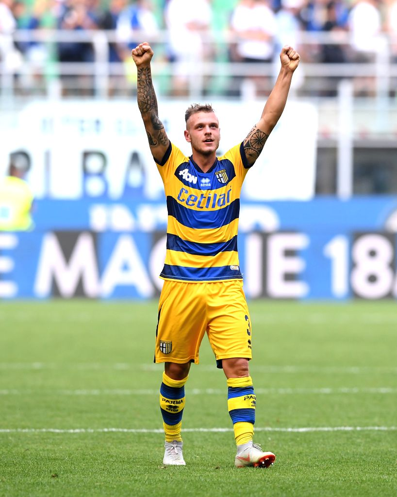 MILAN, Sept. 16, 2018 - Parma's Federico Dimarco celebrates his goal during a Serie A soccer match between FC Inter and Parma in Milan, Italy, Sept. 15, 2018. FC Inter lost 0-1.