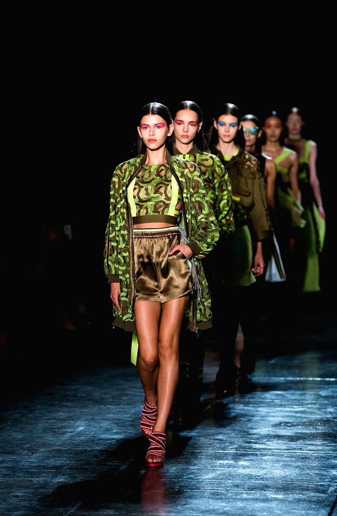 MILAN, Sept. 21, 2017 - Models walk the runway for fashion house Byblos Milano during the Women's Spring/Summer 2018 fashion week in Milan, Italy, on Sept. 20, 2017.