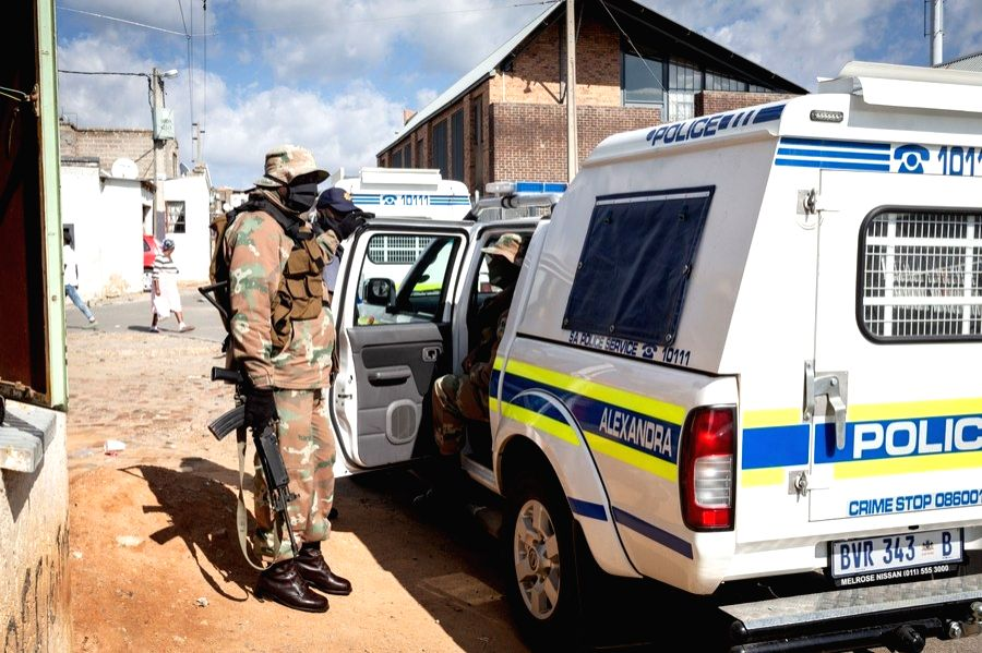 Military and police personnel are on duty in Johannesburg, South Africa, April 16, 2020.