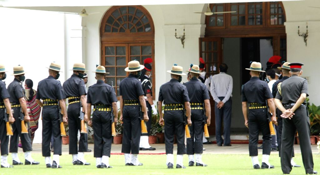 Military band at Former President Pranab Mukherjee's 10 Rajaji Marg residence in New Delhi on Sep 1, 2020. Mukherjee passed away on Monday evening at Army's Research and Referral Hospital ... - Pranab Mukherjee