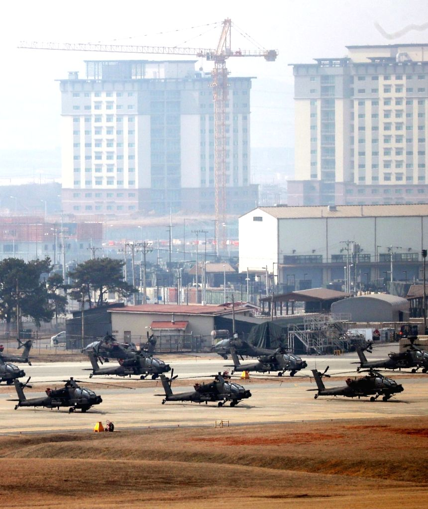 Military choppers are grounded at U.S. base Camp Humphreys in Pyeongtaek, 70 kilometers south of Seoul, on March 3, 2019. South Korea and the United States announced on the day that they will ...